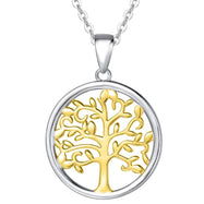 Two Tone Color- Tree of Life Drop Necklace Made with Swarovski Crystals-Daily Steals