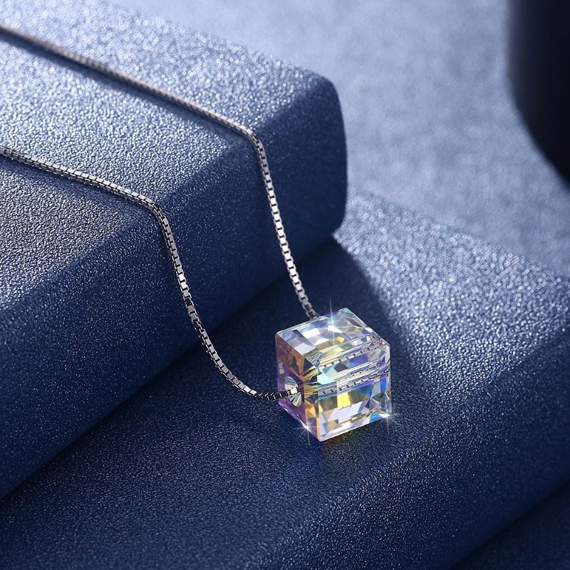 18K White Gold Filled Aurora Borilles Cube Necklace with Swarovski Crystals-Daily Steals