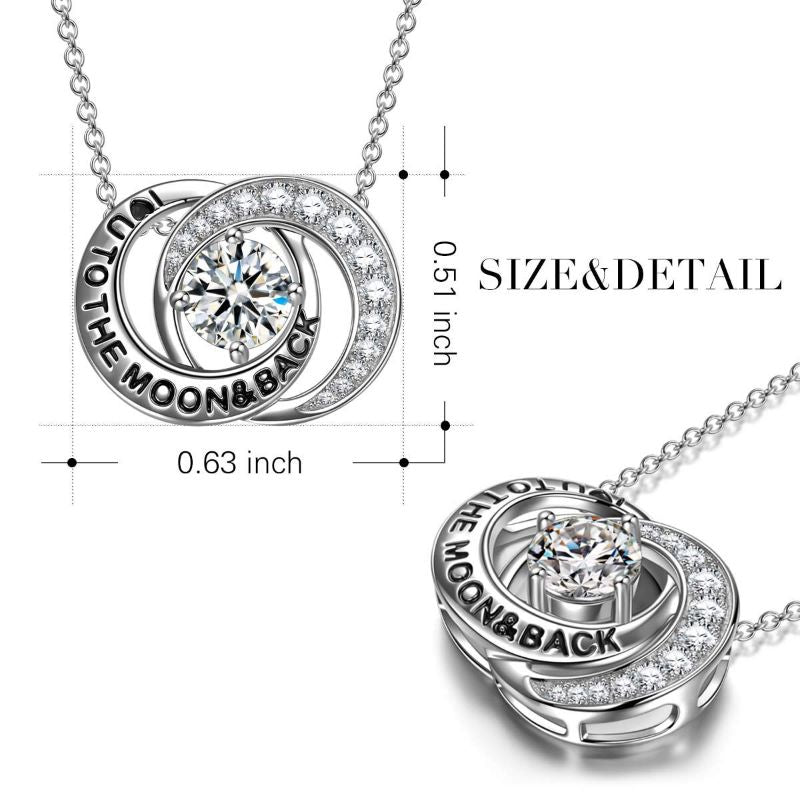 18K White Gold I Love You To The Moon And Back Necklace with Crystals-Daily Steals