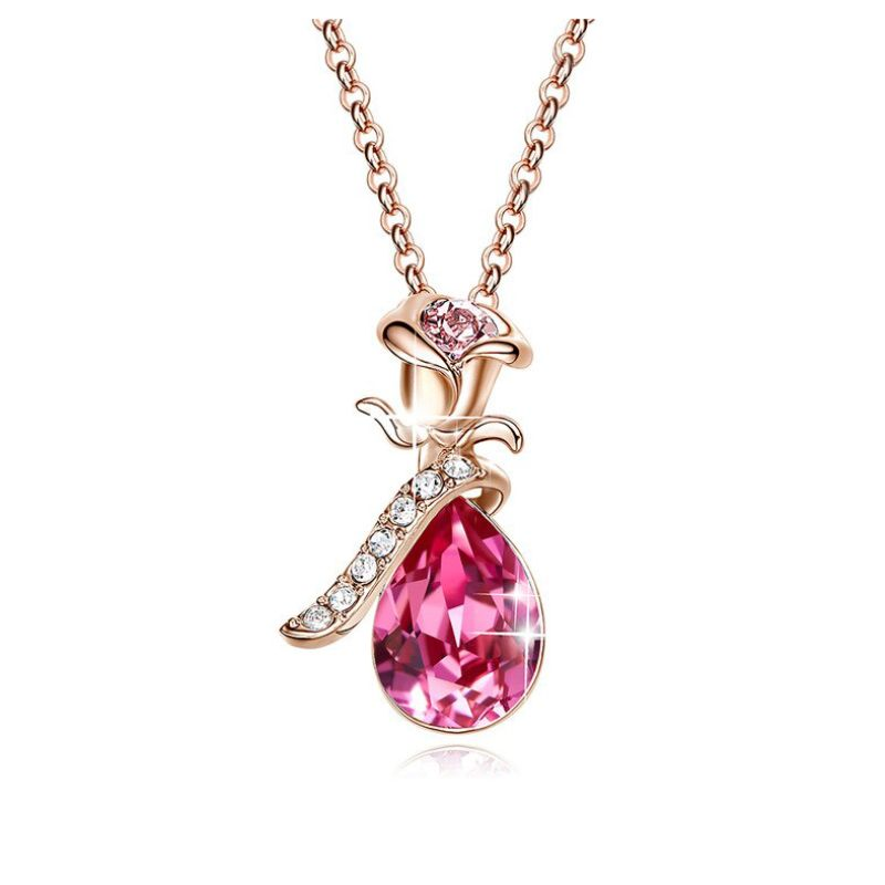 Pink Topaz Waterdrop with Pink Topaz Rose Necklace Made with Swarovski Crystals-Daily Steals