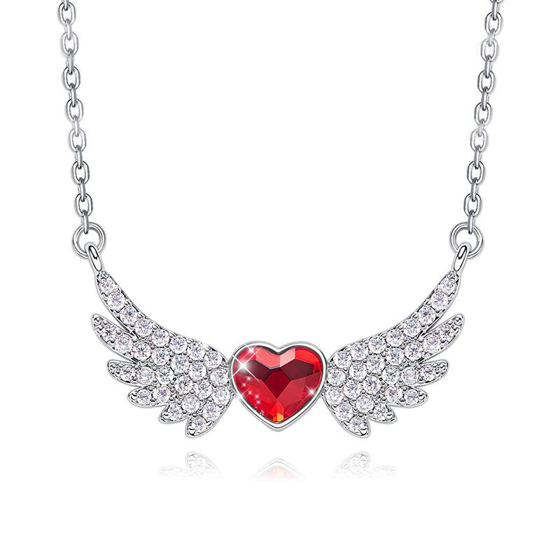Simulated Ruby Heart Shaped Pav'e Angel Wings Pendant Necklace-Daily Steals