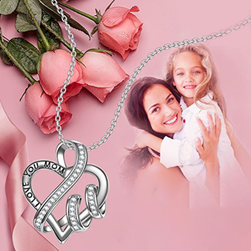 I LOVE YOU MOM Heart Pave Necklace Made with Swarovski Crystals-Daily Steals