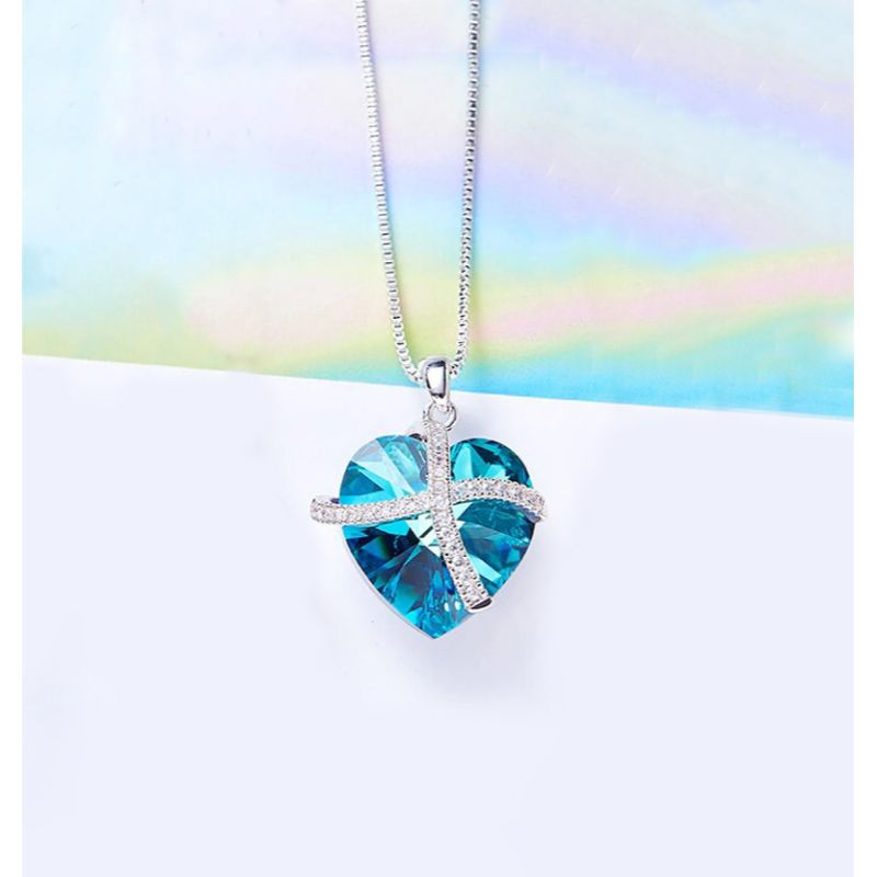Bermuda Blue Pave Heart Ribbon Necklace Made with Swarovski Crystals-Daily Steals