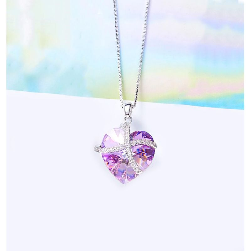 Purple Passion Pave Heart Ribbon Necklace Made with Swarovski Crystals-Daily Steals
