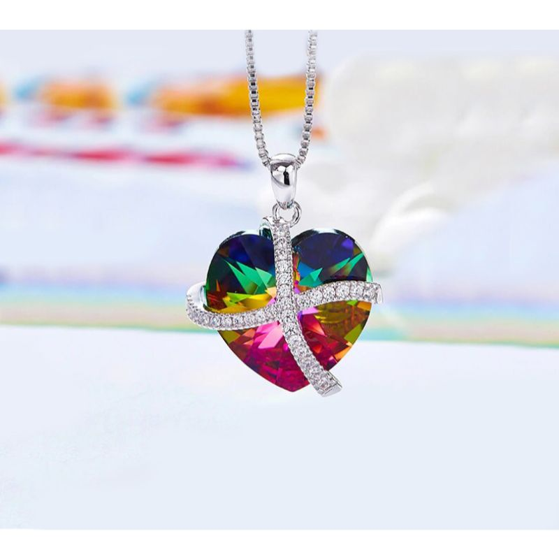 Rainbow Pave Heart Ribbon Necklace Made with Swarovski Crystals-Daily Steals