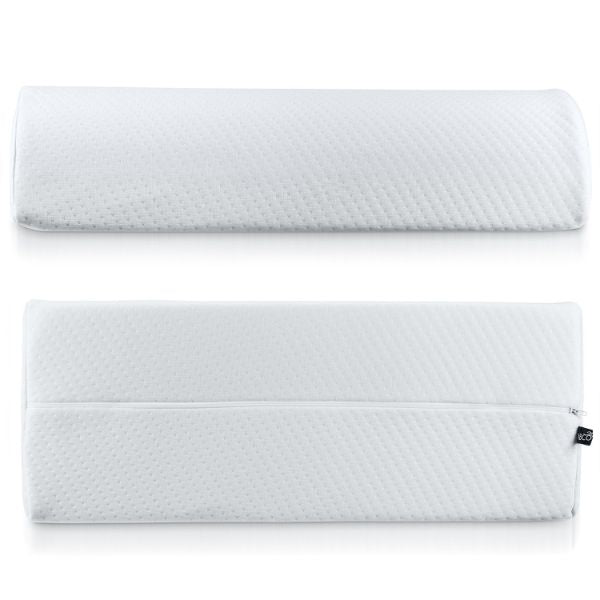 Half Moon Pillow Bolster with Removable, Washable Cotton Cover  - 2 Pack