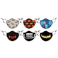 Halloween Adults and Kids Reusable Face Masks and Optional Filters - 6 Pack-Black/White/Blue-6 Adult Face Masks-