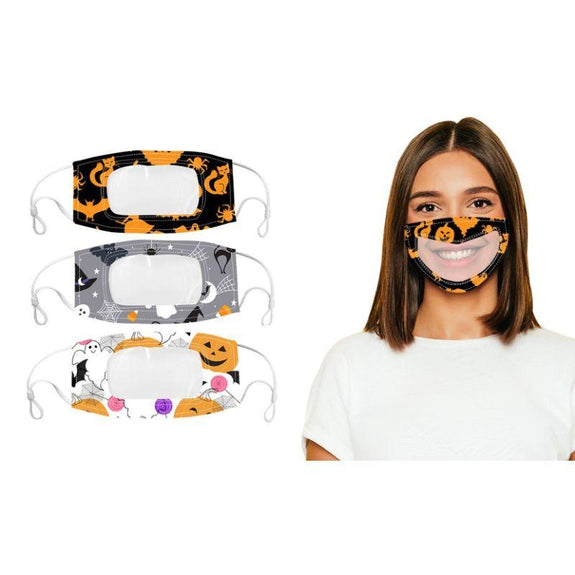 Halloween Edition Smile Communicator Clear Mouth Face Masks - 3 Pack-