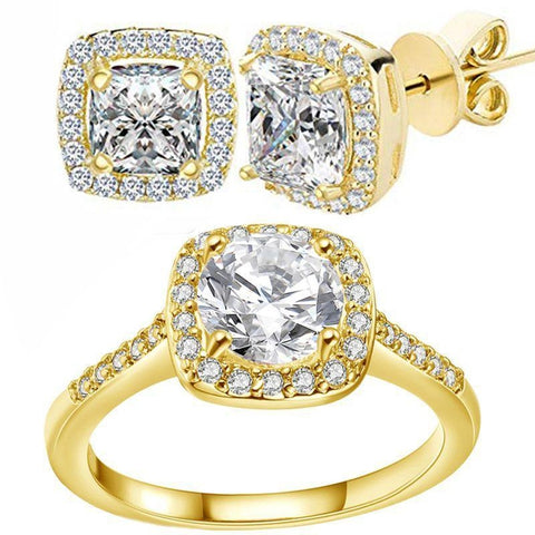Halo Cushion Cut Ring With Princess Cut Stud Earrings in 18k Gold Filled-8-Daily Steals