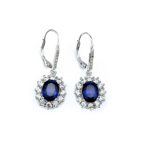 Halo Sapphire Leverback Earrings in 18K White Gold Plating-Daily Steals