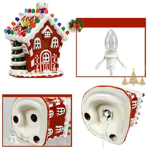 Hand-Painted Ceramic Christmas House with 44 Multicolored Lights-