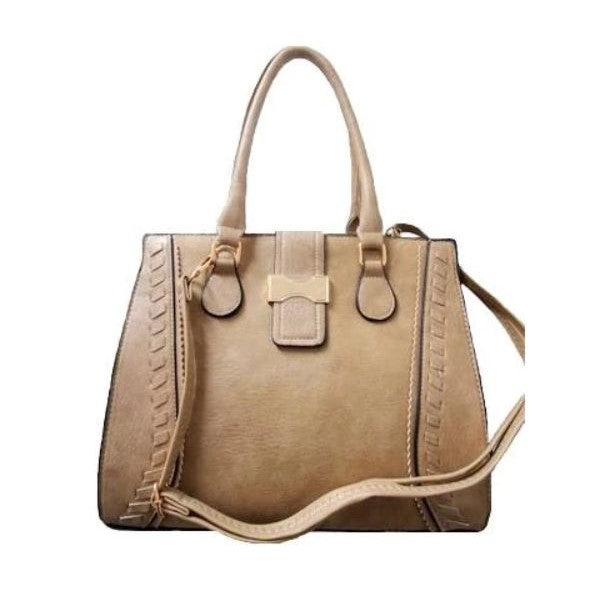 Vintage Satchel Leather Tote-Apricot-Daily Steals