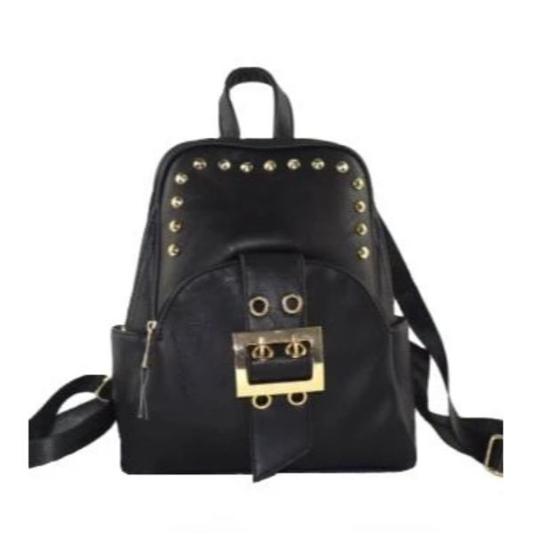 WK Leather Belted Backpack-Black-Daily Steals