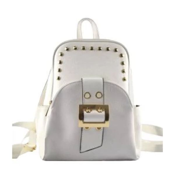 WK Leather Belted Backpack-White-Daily Steals