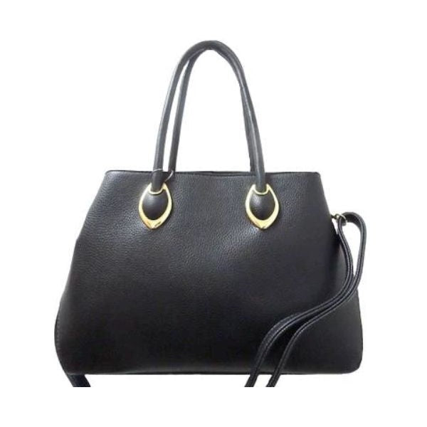 Solid Tote Vintage Style Leather Handbag-Black-Daily Steals