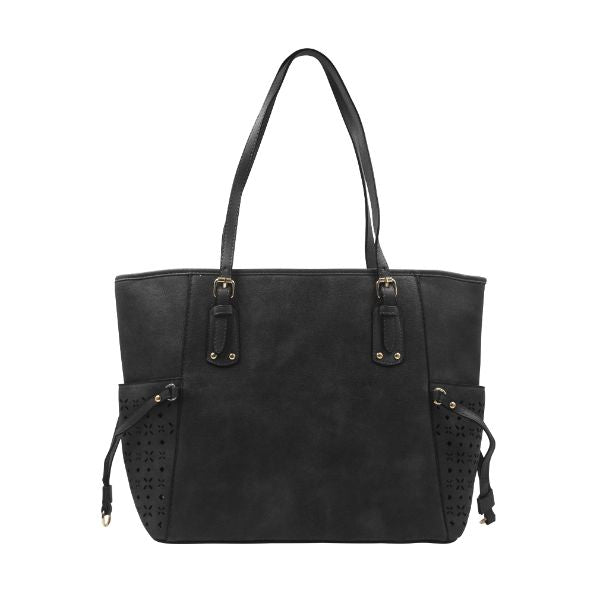 Solid Design Leather Tote-Black-Daily Steals