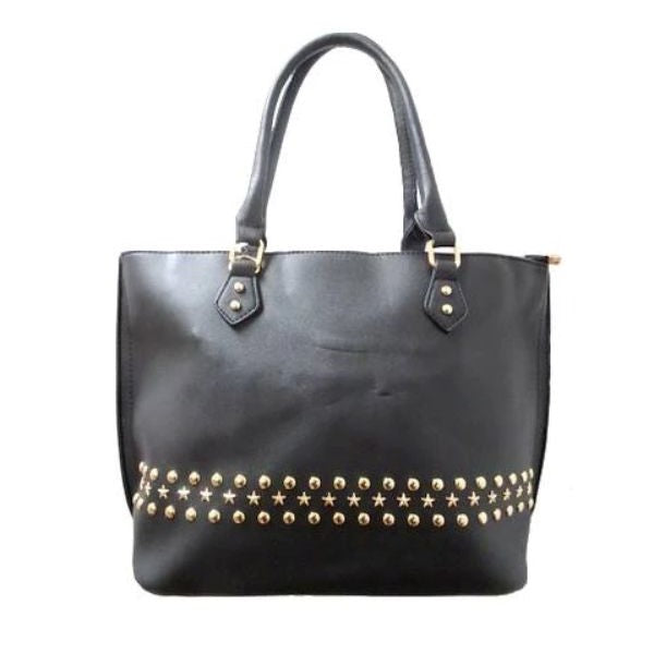 WK Fashion Leather Tote Handbag-Black-Daily Steals