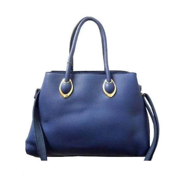 Solid Tote Vintage Style Leather Handbag-Blue-Daily Steals
