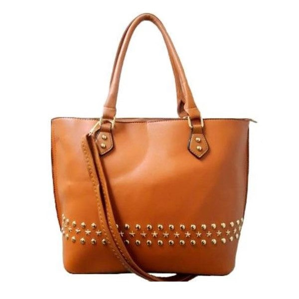 WK Fashion Leather Tote Handbag-Camel-Daily Steals