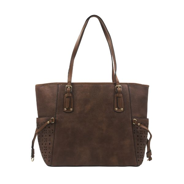 Solid Design Leather Tote-Coffee-Daily Steals