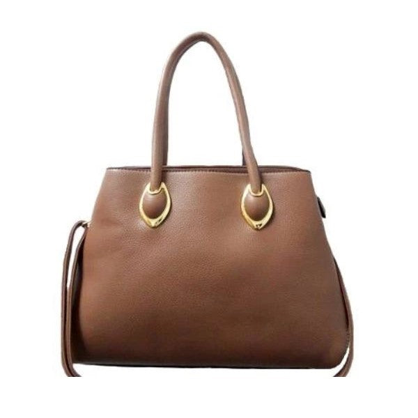 Solid Tote Vintage Style Leather Handbag-Khaki-Daily Steals