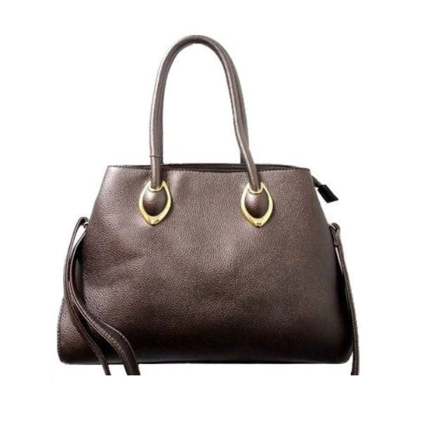 Solid Tote Vintage Style Leather Handbag-Pewter-Daily Steals