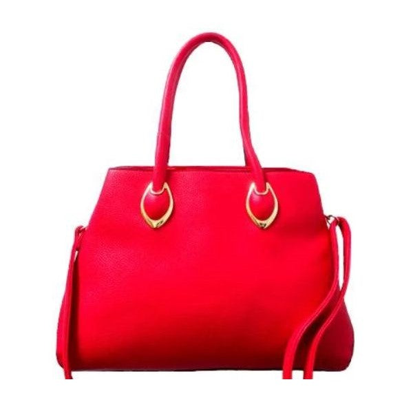 Solid Tote Vintage Style Leather Handbag-Red-Daily Steals