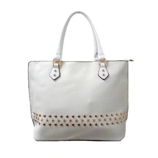 WK Fashion Leather Tote Handbag-White-Daily Steals