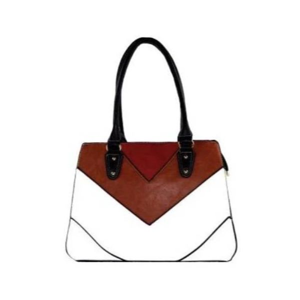 Barbados Leather Colorful Printed Leather Handbag-White-Daily Steals