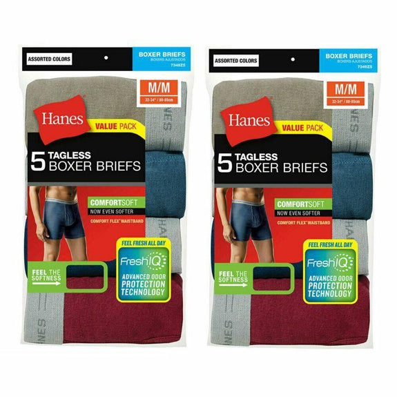 Hanes Men's Underwear Tagless Boxer Briefs-L-5 Pack-
