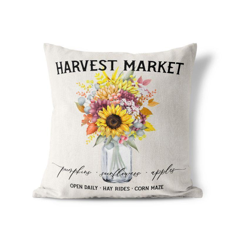 "Harvest Market - Square Pillow Cover - 17""x17""-"