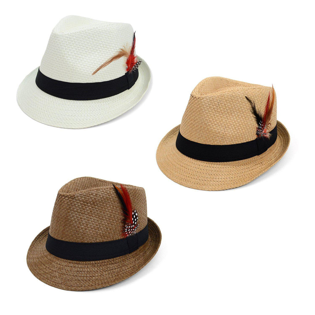 Spring/Summer Woven Fedora Hat with Feather - 3 Options Available-Daily Steals