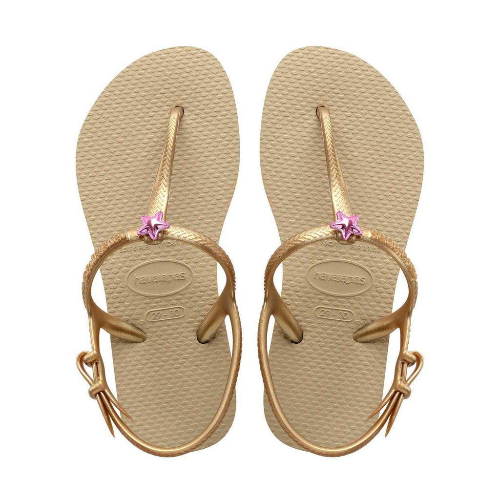 Daily Steals-Havaianas Girl's H. Kids Freedom Sl Cf Rubber Flat Shoes-Accessories-Gold-2 Girls-