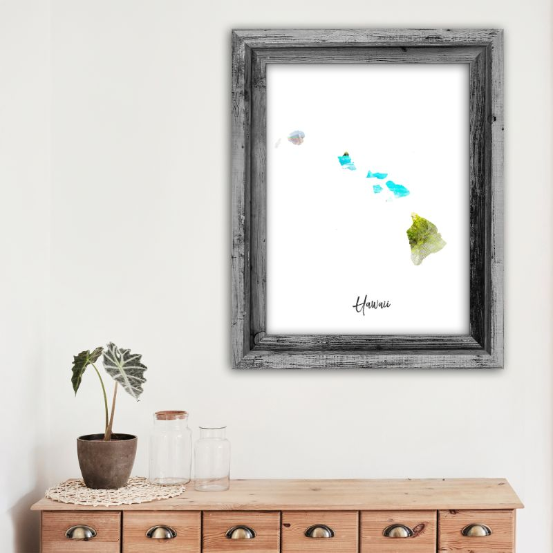 "Hawaii Watercolor Map Print - Unframed Art Print-11""x14""-Vertical/Portrait-Daily Steals"