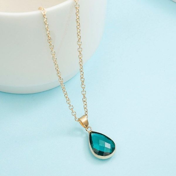 Cubic Zirconia Pear Shaped Necklace-Green-Daily Steals