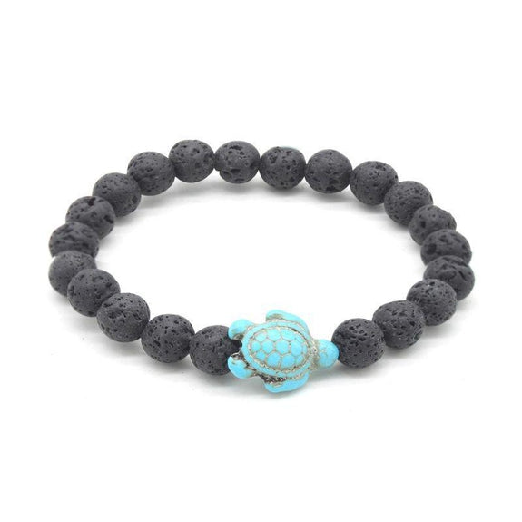 Healing Lava Stone and Handmade Turquoise Hawaiian Sea Turtle Bracelet-Daily Steals