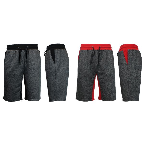Men's Marled French Terry Shorts with Contrast Pockets - 2 Pack-Heather Black/Black - Heather Black/Red-Small-Daily Steals
