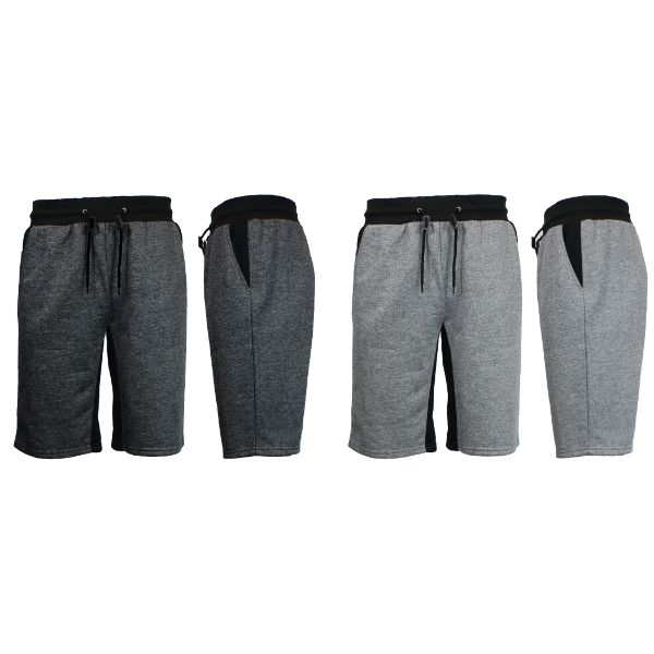 Men's Marled French Terry Shorts with Contrast Pockets - 2 Pack-Heather Black/Black - Heather Grey/Black-Small-Daily Steals