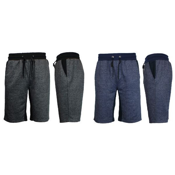 Men's Marled French Terry Shorts with Contrast Pockets - 2 Pack-Heather Black/Black - Heather Navy/Navy-Small-Daily Steals