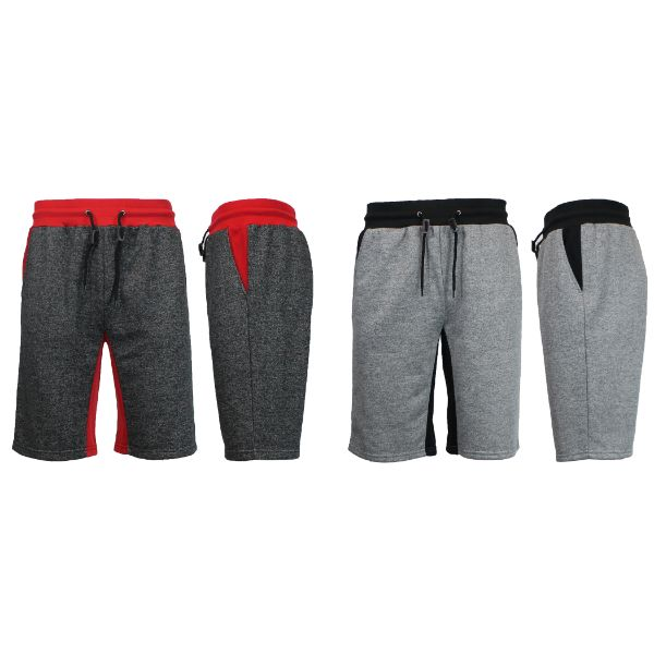 Men's Marled French Terry Shorts with Contrast Pockets - 2 Pack-Heather Black/Red - Heather Grey/Black-Small-Daily Steals