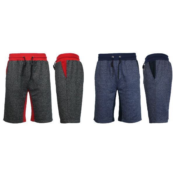 Men's Marled French Terry Shorts with Contrast Pockets - 2 Pack-Heather Black/Red - Heather Navy/Navy-Medium-Daily Steals