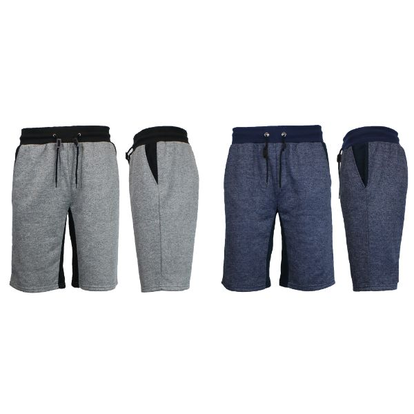 Men's Marled French Terry Shorts with Contrast Pockets - 2 Pack-Heather Grey/Black - Heather Navy/Navy-Small-Daily Steals