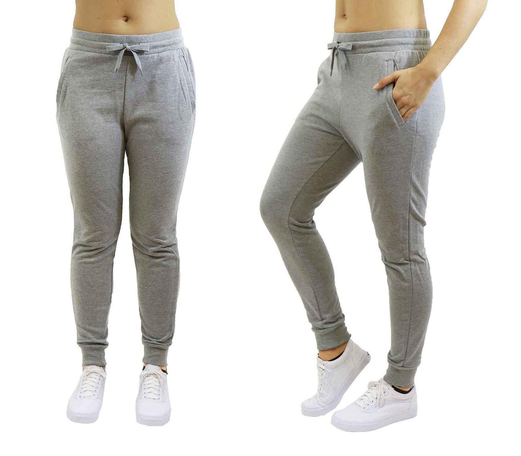 Women's Slim-Fit French Terry Jogger Sweatpants-Heather Grey-Large-Daily Steals