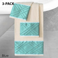 Daily Steals-Heavy Cotton Towels with Pearls Three-Piece Set-Home and Office Essentials-BLUE-3-