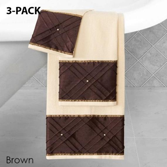 Daily Steals-Heavy Cotton Towels with Pearls Three-Piece Set-Home and Office Essentials-BROWN-3-