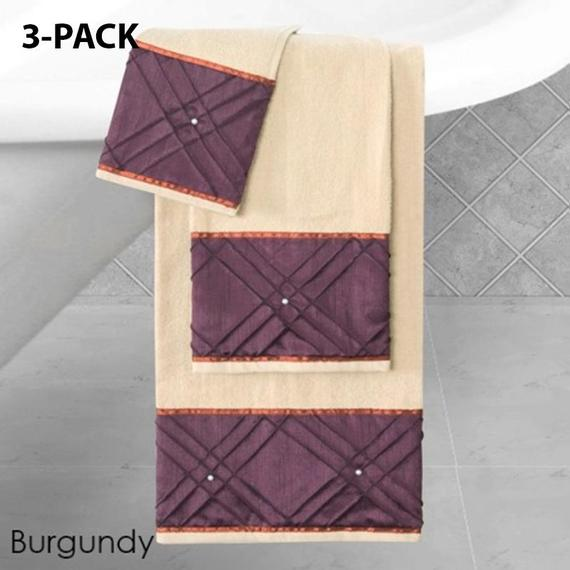 Daily Steals-Heavy Cotton Towels with Pearls Three-Piece Set-Home and Office Essentials-BURGUNDY-3-