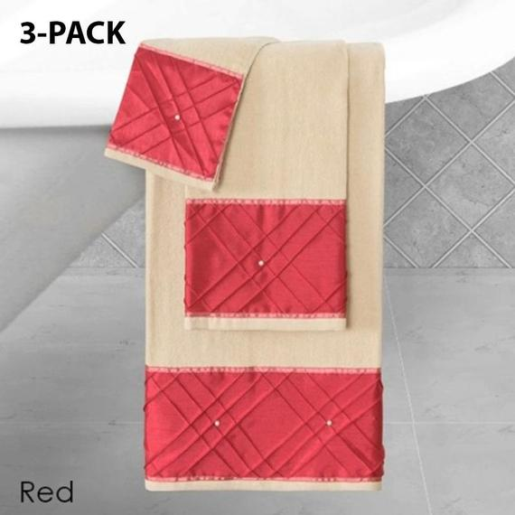 Daily Steals-Heavy Cotton Towels with Pearls Three-Piece Set-Home and Office Essentials-RED-3-