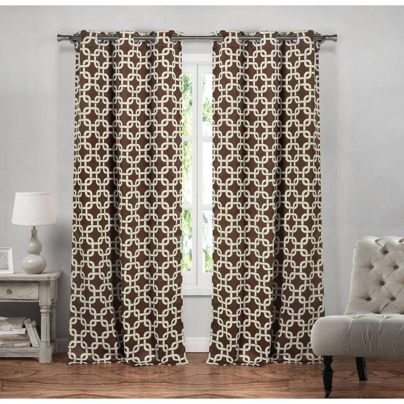 "Heavy Geometric Blackout Thermal Grommet Window Curtains 38x84"" - 2 Pack-Chocolate-"