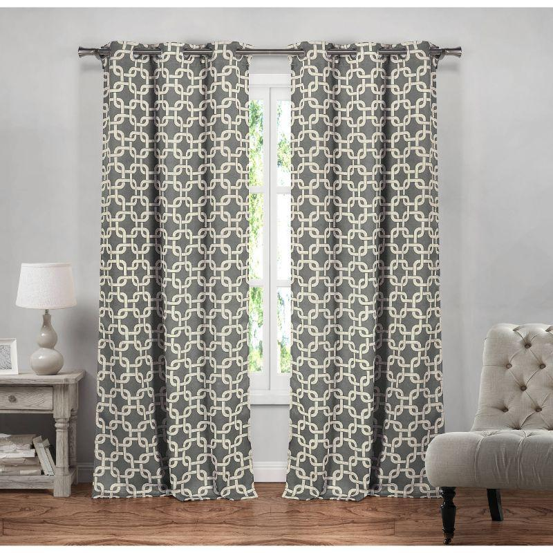 "Heavy Geometric Blackout Thermal Grommet Window Curtains 38x84"" - 2 Pack-Grey-"