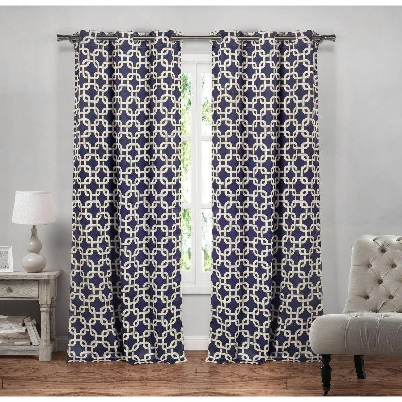 "Heavy Geometric Blackout Thermal Grommet Window Curtains 38x84"" - 2 Pack-Navy-"